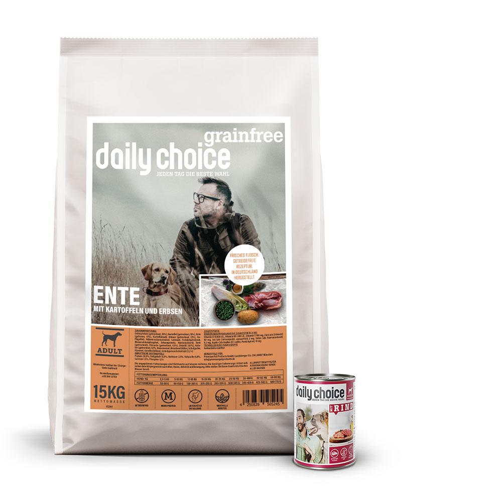 15kg + 6x400g, getreidefreies Hundefutter, Mixpaket, daily choice