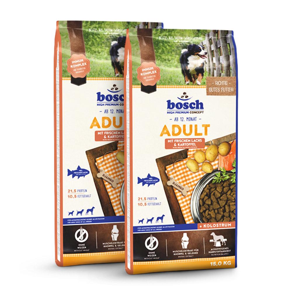 2 x 15 kg, Adult Lachs & Kartoffel, Hundefutter, Bosch