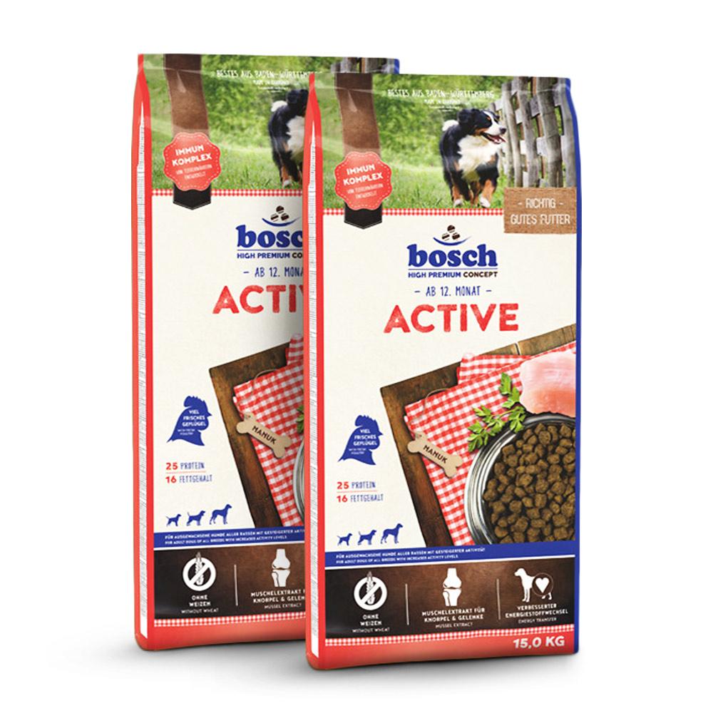 2 x 15 kg, Adult Active, Hundefutter, Bosch