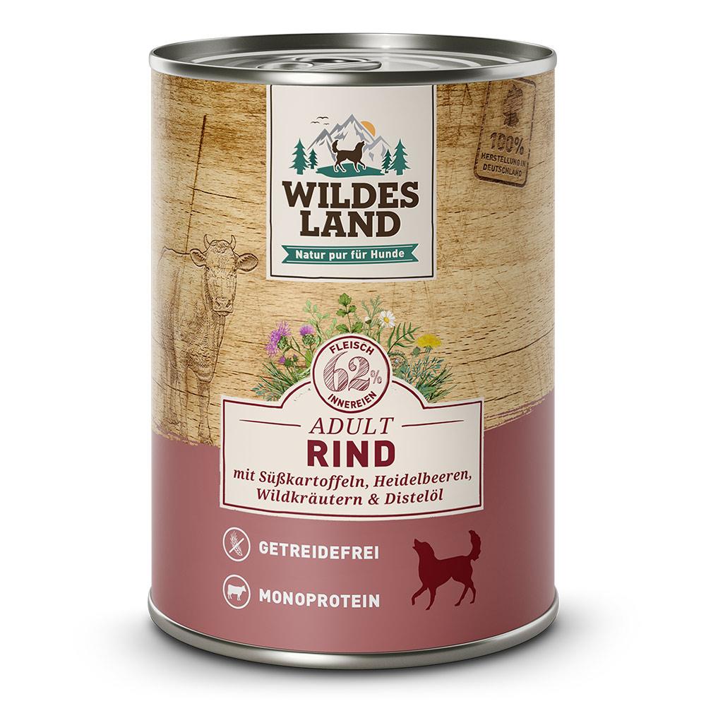 6x800g, Nassfutter Hund, getreidefrei, Rind, Hundefutter, Wildes Land