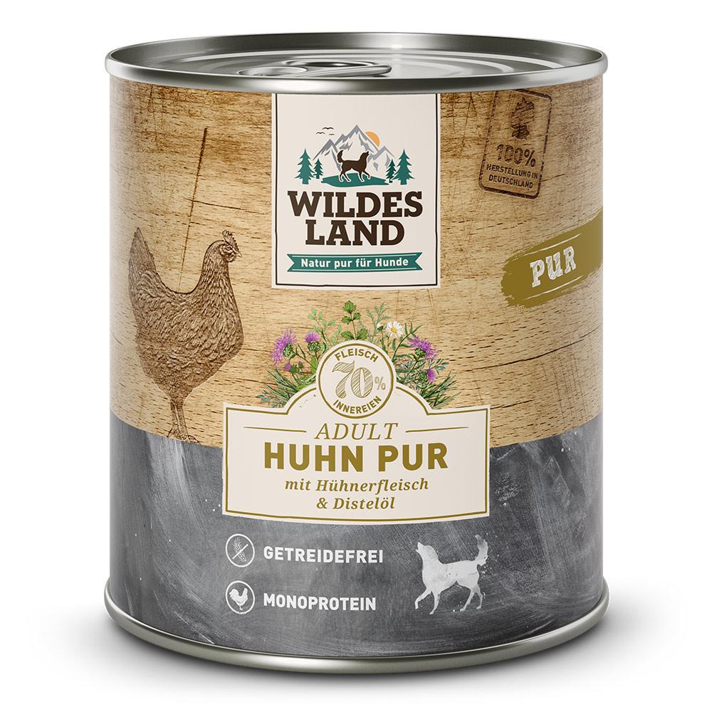 6x800g, Nassfutter Hund, getreidefrei, Huhn PUR, Hundefutter, Wildes Land