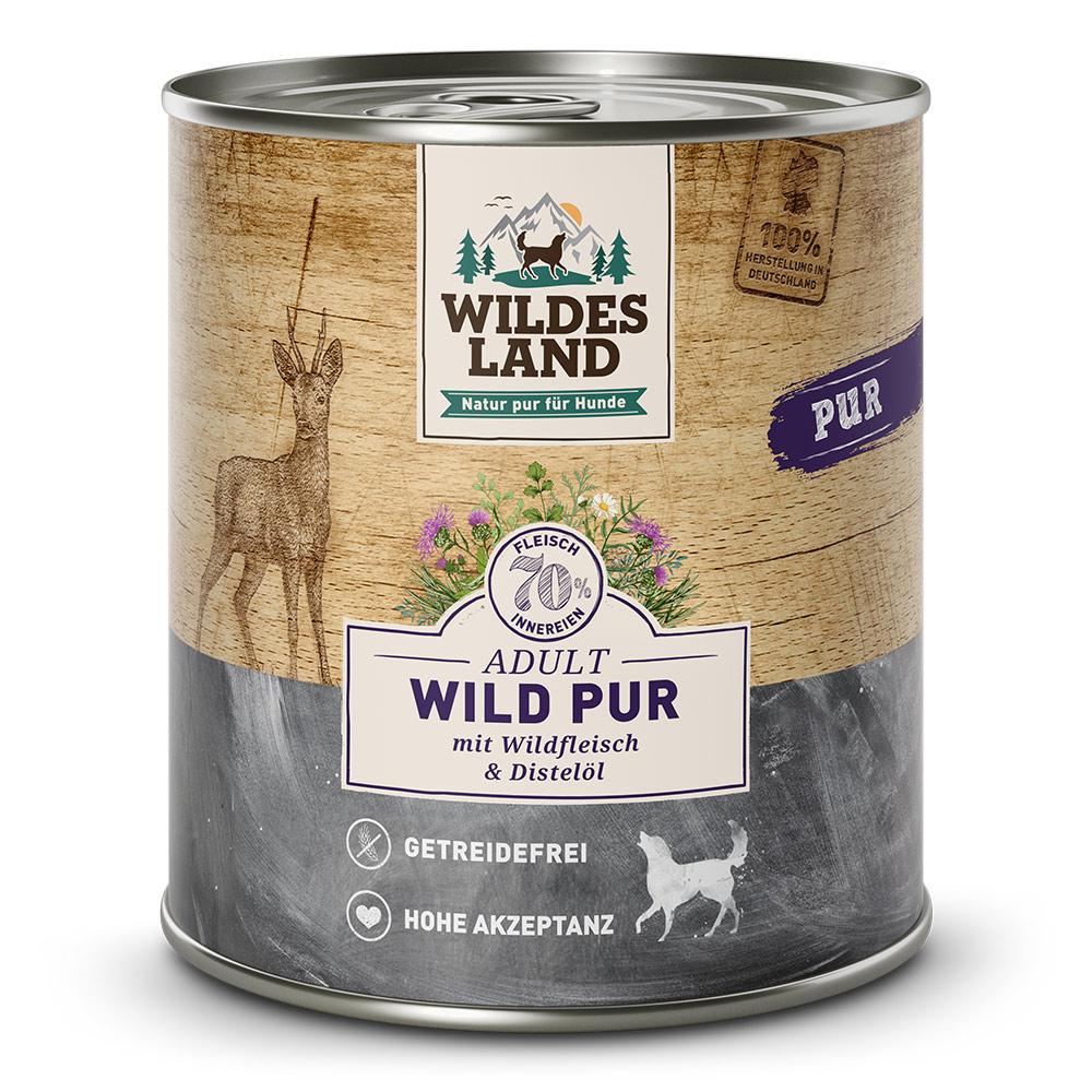 6x800g, Nassfutter Hund, getreidefrei, Wild PUR, Hundefutter, Wildes Land