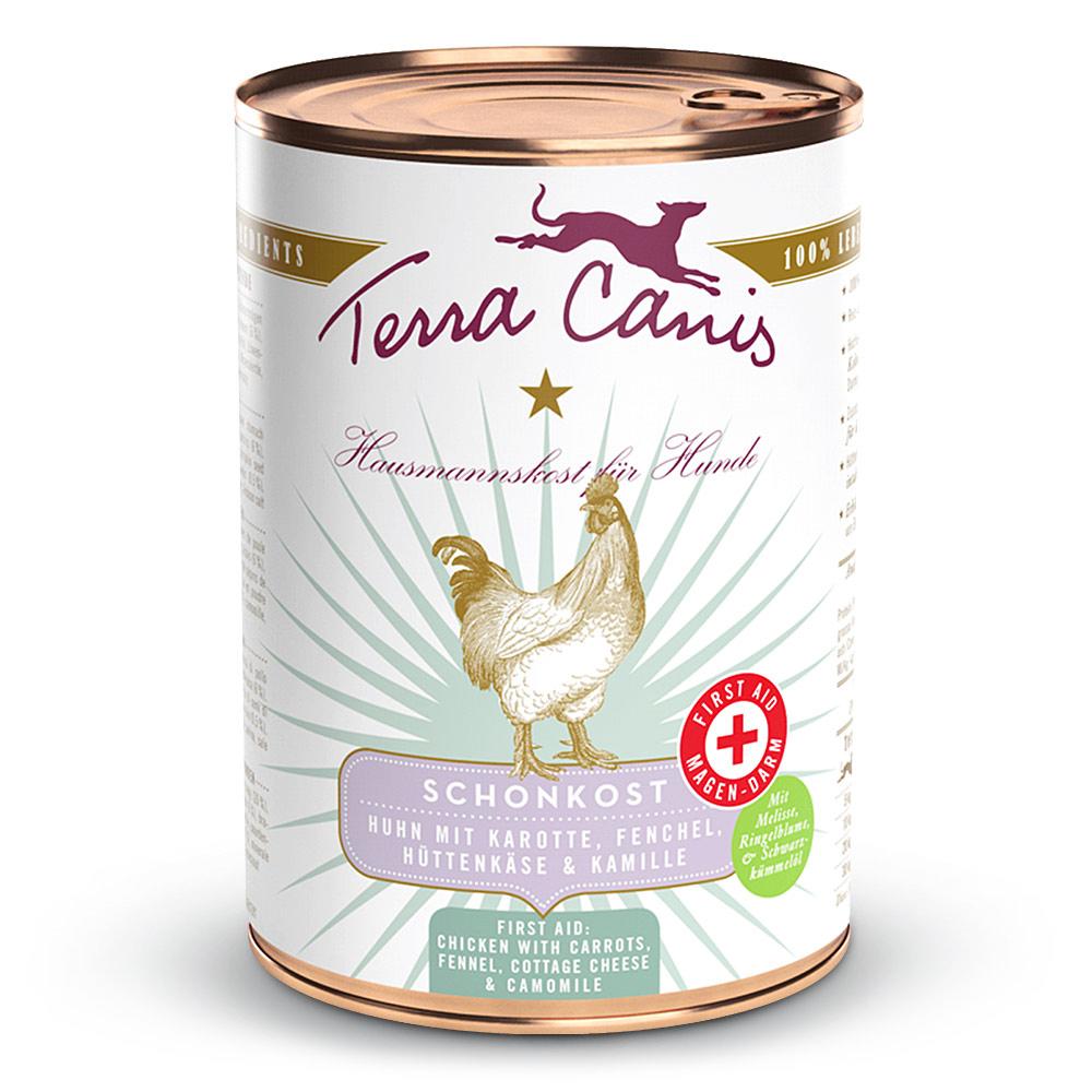 6 x 800 g | Terra Canis | Schonkost Huhn mit Karotte, Fenchel, Hüttenkäse und Kamille First Aid | Na