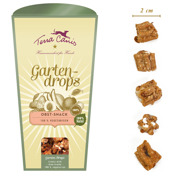 6 x 250 g | Terra Canis | Obst Gartendrops | Snack | Hund