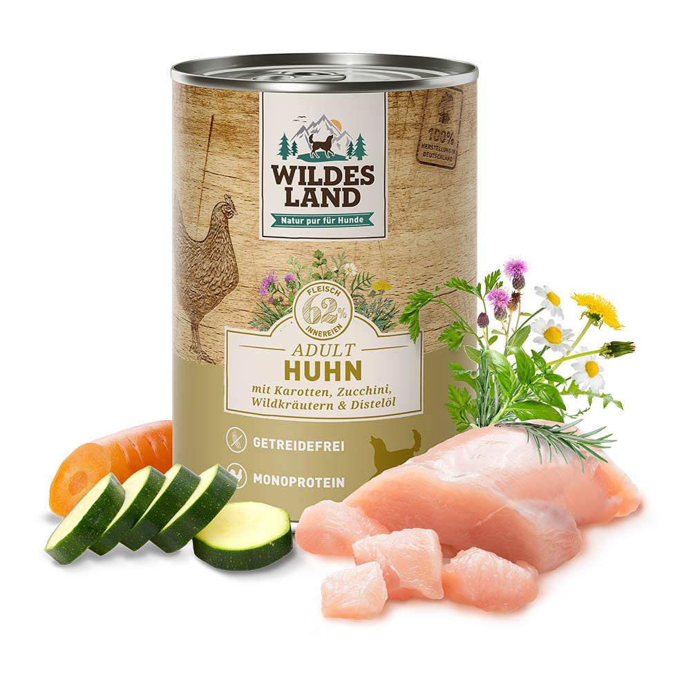 400 g | Wildes Land | Huhn mit Karotten, Zucchini, Wildkräutern und Distelöl Classic Adult | Nassfutter | Hund