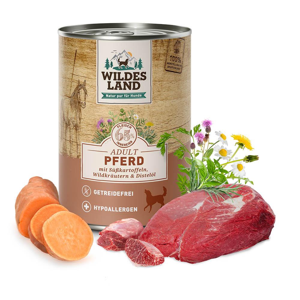 400 g | Wildes Land | Pferd mit Süßkartoffeln, Wildkräutern und Distelöl Classic Adult | Nassfutter | Hund