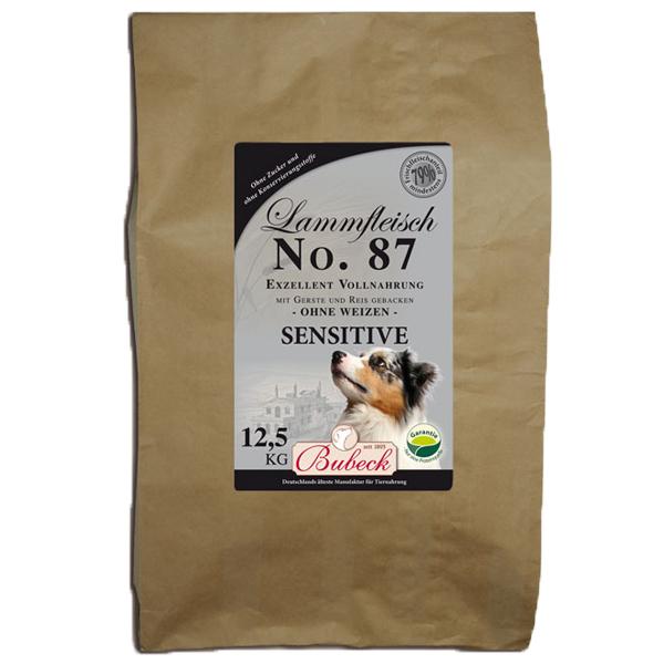 12,5 kg | No. 87 Sensitive Lammfleisch Trockenfutter/gebackenes Hundefutter | Bubeck