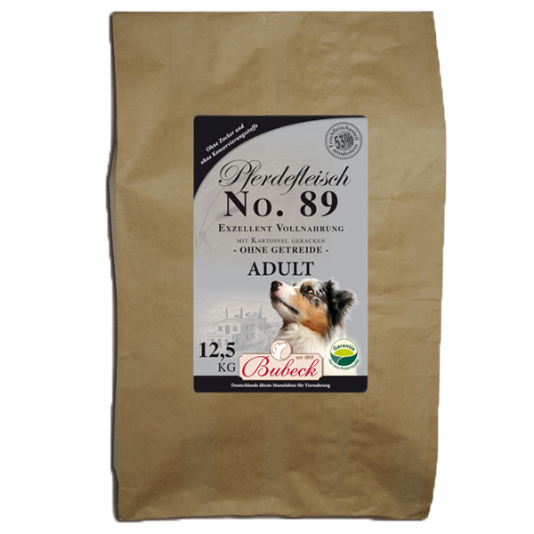 12,5 kg | No. 89 Adult Pferdefleisch Trockenfutter/gebackenes Hundefutter | Bubeck