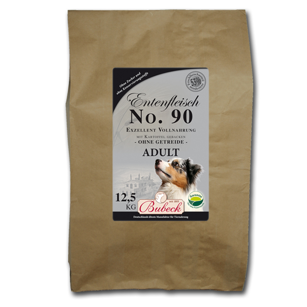 12,5 kg | No. 90 Adult Entenfleisch Trockenfutter/gebackenes Hundefutter | Bubeck