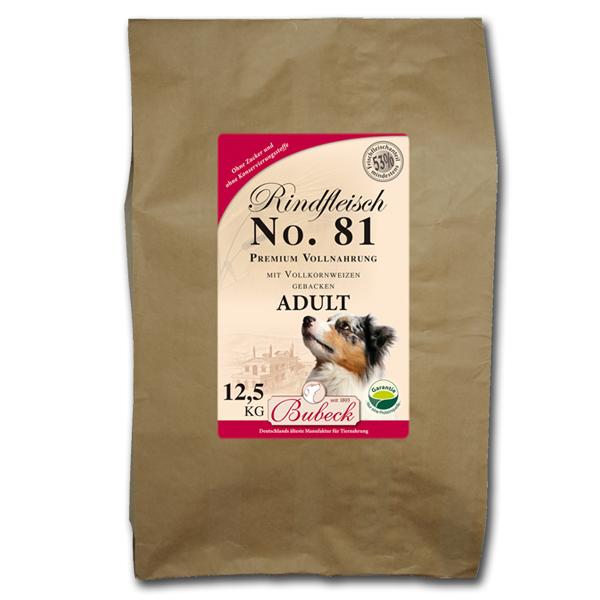 12,5 kg | No. 81 Adult Rindfleisch Trockenfutter/gebackenes Hundefutter | Bubeck