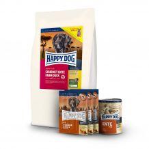 Happy Dog - Hundefutter - Supreme Premium Paket Ente Trockenfutter 12,5kg + 6 x 800g Nassfutter + Snack 3 x 10g