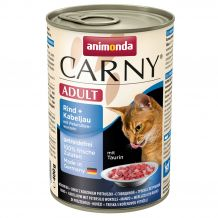 Animonda - Nassfutter - Carny Adult Rind + Kabeljau mit Petersilienwurzeln 6 x 400g (getreidefrei)