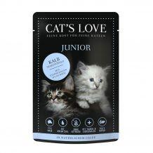Cat's Love - Nassfutter - Junior Kalb mit Eierschalen und Lachsöl 6 x 85g (getreidefrei)