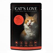 Cat's Love - Nassfutter - Rind Pur mit Distelöl und Löwenzahn 6 x 85g (getreidefrei)