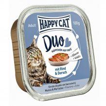 Happy Cat - Nassfutter - Duo Häppchen auf Paté Rind und Dorsch
