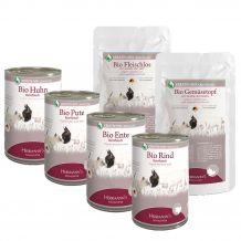 Herrmanns - Nassfutter - Bio Premium Paket mit Bio Flocken + Ergänzungsfutter + Fleisch pur 12 x 400g