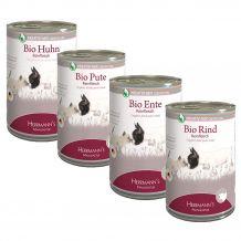Herrmanns - Nassfutter - Bio Premium Paket mit Bio Flocken + Fleisch pur 12 x 400g