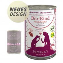 Herrmann's - Nassfutter - Bio-Rind mit Süßkartoffeln 400g