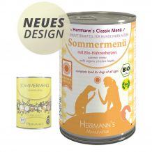 Herrmann's - Nassfutter - Sommermenü mit Bio-Hühnerherzen 400g