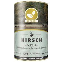 Natural - Nassfutter - Hirsch mit Kürbis, Johannisbeeren, Amaranth und Leinöl 400g (getreidefrei)