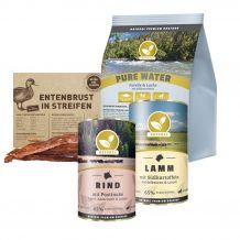 Natural - Hundefutter - Probe Paket mit 1kg Trockenfutter + 2 x 400g Nassfutter + Snack 70g