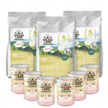 Wildes Land - Trockenfutter - Premium Paket Soft Puppy Huhn mit Reis 3 x 5kg + Puppy Nassfutter 6 x 400g