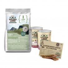 Wildes Land - Hundefutter - Probe Paket mit 1,5kg Soft Trockenfutter und 2 x 400g Nassfutter + Snack 70g