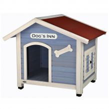 Trixie - Hundehütte - natura Hundehütte Dog's Inn mit Satteldach hellblau/weiß