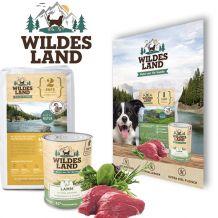 Wildes Land - Hundefutter - Probierpaket mit 4 x 70g Futterprobe Ente + 2 x 400g Nassfutter + Snack 70g + Broschüre Hund