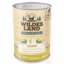 Wildes Land - Nassfutter - Huhn mit Karotten, Zucchini, Wildkräuter und Distelöl (getreidefrei)