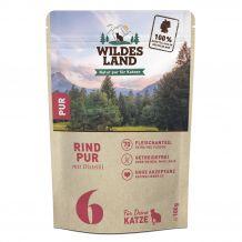Wildes Land - Nassfutter - Rind PUR mit Distelöl Pouch 100g (getreidefrei)