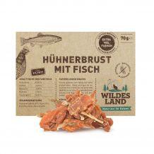 Wildes Land - Kausnack - Hühnerbrust mit Fisch 70g (getreidefrei)