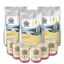 Wildes Land - Trockenfutter - Premium Paket Ente Soft 3 x 5kg + Nassfutter 6 x 400g