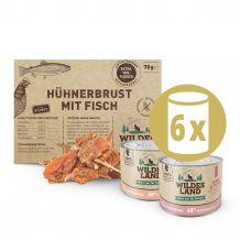 Wildes Land - Katzenfutter - Probierpaket mit 6 x 200g + Snack 70g