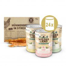 Wildes Land - Nassfutter - Premium Paket Puppy mit 24 x 400g + Snack 70g (glutenfrei)
