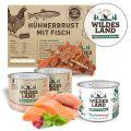 Wildes Land - Katzenfutter - TV Probe Paket mit 6 x 200g + Snack 70g + Broschüre
