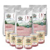 Wildes Land - Trockenfutter - Premium Paket Soft Rind mit Reis 3 x 5kg + Nassfutter 6 x 400g