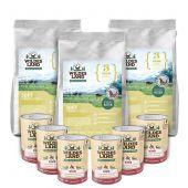 Wildes Land - Trockenfutter - Premium Paket Soft Huhn mit Reis 3 x 5kg + Nassfutter 6 x 400g
