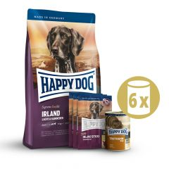 Happy Dog - Hundefutter - Supreme Premium Paket Irland Trockenfutter 12,5kg + 6 x 800g Nassfutter + Snack 3 x 10g