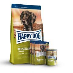 Happy Dog - Hundefutter - Supreme Premium Paket Neuseeland Trockenfutter 12,5kg + 6 x 800g Nassfutter + Snack 3 x 10g