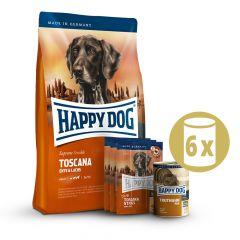 Happy Dog - Hundefutter - Supreme Premium Paket Toscana Trockenfutter 12,5kg + 6 x 800g Nassfutter + Snack 3 x 10g