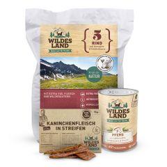 Wildes Land - Trocken- und Nassfutter - Premium Paket Trockenfutter 4kg + Nassfutter 6 x 400g + Snack 70g