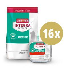 Animonda - Vorteilspaket Integra Protect Adipositas Trockenfutter 1,2kg + Nassfutter 16 x 100g