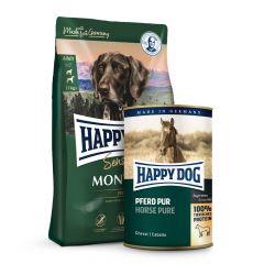 Happy Dog - Pferd Probepaket 1 kg Trockenfutter + 6 x 800g Nassfutter