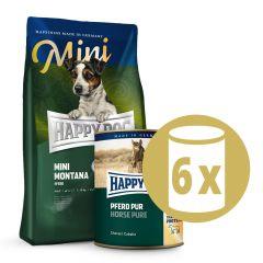 Happy Dog - Pferd Probepaket 1 kg Trockenfutter + 6 x 400g Nassfutter