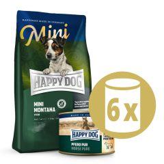 Happy Dog - Pferd Probepaket 1 kg Trockenfutter + 6 x 200g Nassfutter