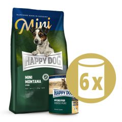 Happy Dog - Pferd Mini Vorteilspaket 4 kg Trockenfutter + 6 x 400g Nassfutter