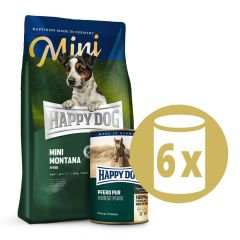 Happy Dog - Pferd Mini Vorteilspaket 4 kg Trockenfutter  + 6 x 800g Nassfutter