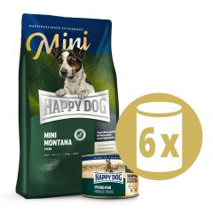 Happy Dog - Pferd Mini Vorteilspaket 4 kg Trockenfutter + 6 x 200g Nassfutter