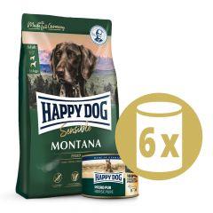 Happy Dog - Pferd Vorteilspaket 4 kg Trockenfutter + 6 x 200g Nassfutter